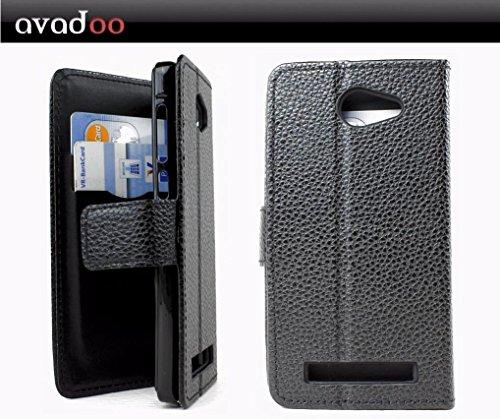 avadoo® Archos 45c Helium Flip Case Cover Tasche Schwarz mit Magnetverschluss und Dualnaht als Cover Tasche Hülle
