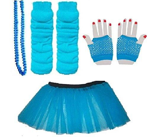 Child 4-7 Neon Tutu, Short Fishnet Gloves, Legwarmers & Beads Necklace (Neon Blue) ()