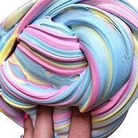 Gugutogo Niños Graciosos Fluffy Floam Slime No Borax Modelado Arcilla Portable Stress Relief Sludge Toy Universal para niños de jugueterosa y Amarillo y Azul