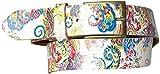 Fronhofer Damengürtel Blumenmuster, Gürtel bunt Blume weiß floral, Blumengürtel, Leder 4 cm, 17904, Größe:Bundweite 90 cm, Farbe:Mehrfarbig