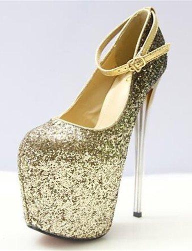 WSS 2016 Chaussures Femme-Habillé-Argent / Or-Talon Aiguille-Bout Arrondi-Talons-Similicuir silver-us5.5 / eu36 / uk3.5 / cn35