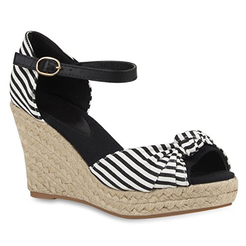 Damen Sandaletten Glitzer | Keilsandaletten Schnallen | Bast Wedges Muster | Plateauschuhe Keilabsatz | Party Abiball Schuhe |Zierperlen Metallic Strass Schwarz Streifen