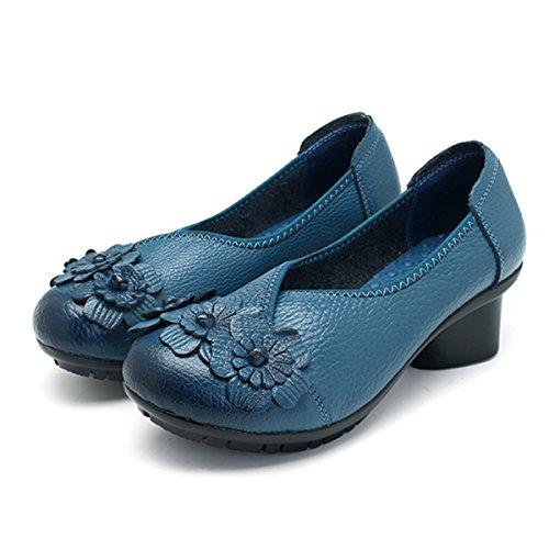 Socofy Damen Pumps, Damen Leder Slipper Klassische Pumps Blume Loafers Metallic Party Schuhe Leder-Optik Ballerinas Vintage Halbschuhe Slip-Ons Herbstschuhe Blau 40 - 3