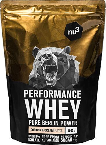 nu3 Whey Protéines Performance -1kg Cookies & Cream - Shake pour prise de masse musculaire rapide à préparer - Excellente solution et délicieux goût cookies - Riche en protéines naturelles