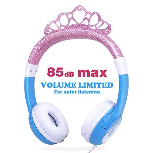 OneOdio Kinder Kopfhörer mit Lautstärkebegrenzung 85dB, Mädchen Prinzessin Kinderkopfhörer ab 3 Jahre, on Ear Headset 3.5mm Kabelgebundene Leicht Kopfhörer (Pink&Blau)