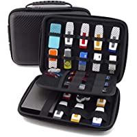 King of Flash Large Carrying Portable Case With 23 Elastic Bands For Cables, USB Sticks, Hard Drive, Memory Cards Black EVA