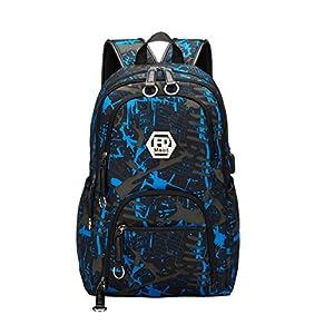 Maod Mochila de Escolar Oxford Tela Bolsa de Ordenador Resistente al Agua Bolso del Senderismo Juveniles Casual Backpack de Viaje Diario (Blanco)