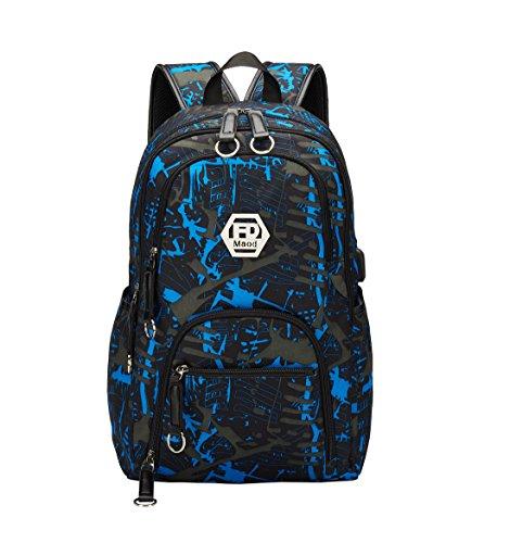 Maod uomo zaino università grandi laptop backpack per 15.6 pollice graffiti borsa scuola ragazzi impermeabile zaini casual (azul)
