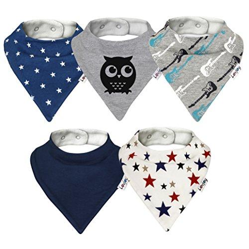 Lovjoy Baberos del bebé – Paquete de 5 Diseños para niño (Pequeña...