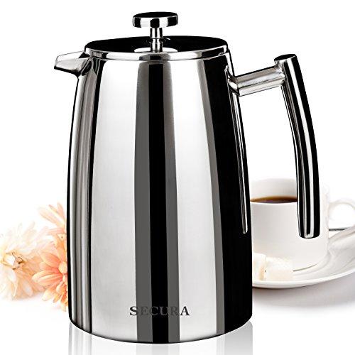 Secura Edelstahl Kaffeebereiter Französische Kaffeepresse, French Press Caffettiera Kaffeekanne mit Edelstahlfilter, 1.5 liter, Silber
