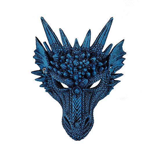 CHNA MA Halloween Karneval Party PU Schaum 3D Evil Dragon Mask für Erwachsene und Kinder Mardi Gras Party,Blue,H30*W21cm