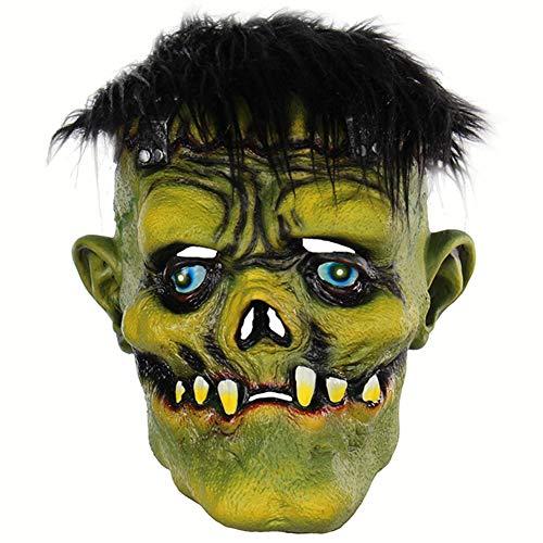 BEIAKE Unheimlich Schwarzes Haar GrüNes Gesicht Monster Maske Halloween Party Cosplay