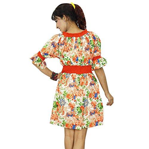 Indianbeautifulart -  Vestito  - Tunica - Floreale - Manche courte - Donna multicolore-1