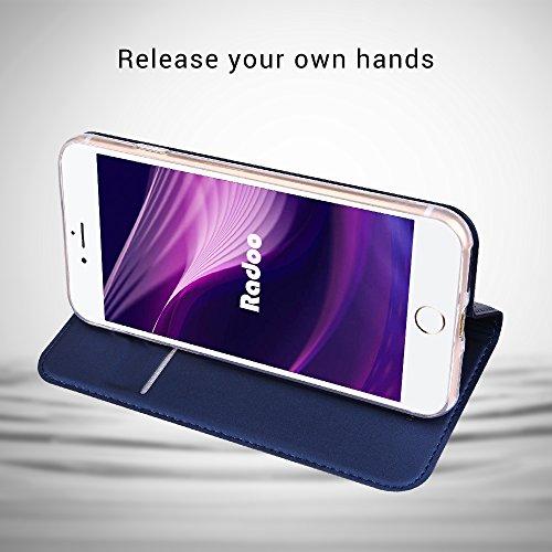 iPhone 8custodia, iPhone 7custodia a portafoglio, Radoo® Premium New Style PU [ultra-slim] Flip custodia in TPU antiurto scocca interna [con carta slot] [chiusura magnetica] funzione flip custodia a Blue
