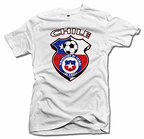 Chile Shield blanco futbol camiseta hombres T 6.1oz