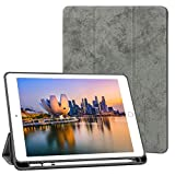 Robustrion Marble Series Trifold Flip Stand Case with Pencil Holder for New iPad