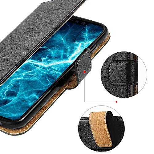 Coque iPhone X, HOOMIL Housse en Cuir Premium Flip Case Portefeuille Etui pour Apple iPhone X / iPhone 10 (H3180, Noir) iPhone X / iPhone 10 Noir