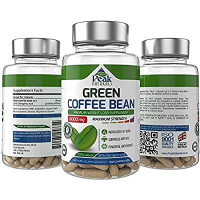 #1 Strongest and Most Effective Green Coffee Bean For Weight Loss ★ 6000mg Maximum Strength Pure Green Coffee Bean Extract with GCA ★ 50% Chlorogenic Acid ★ Full 30 Day Supply ★ Lose Weight Fast ★ Proudly Made in the UK ★ Free Bonus Guide Incl