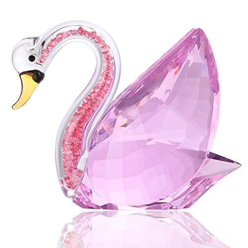 Unknown H & D - Decorative Figure of Swan of Pink Crystal with Rhinestones