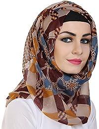 Momin Libas Women's Polyester Printed Hijab and Scarf, Medium(Multicolour, HPC44217)