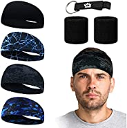 MEJAWDA 4 Pack Sports Headband Double Sleeved Soft and Stretchy with 2 x Double Sleeved Wrist Sweatband Suppor