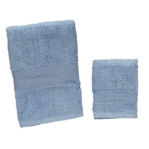 Zucchi set un asciugamano viso più un asciugamano ospite spugna da 560 grammi/mq, celeste