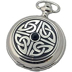 A E Williams 4812SK Celtic mens mechanical pocket watch with chain