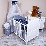 Amilian® Baby Bettwäsche 5tlg Bettset mit Nestchen Kinderbettwäsche Himmel 100x135cm