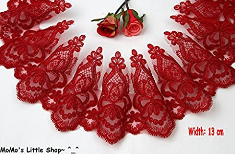 Beautiful Heavy Corded Scalloped Regal French Alencon Lace Trim Edge for Bridal Wedding Gown Veil (Width: 13 cm) — 1 Metre (Red)