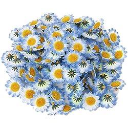 Aofocy Paquete 100 Flor de Margaritas de Tela para Las Decoraciones del Arte del Capo de Pascua, Flores Artificiales Artificiales Blancas, 4 cm de diámetro