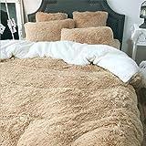 LUCKY CLOVER-A Juego de sábanas, Forro Polar Bereber 1 Funda nórdica 1 Sábana 2 Fundas de Almohada Suave, Doble tamaño Extragrande, Juego de sábanas de Lujo con Funda nórdica