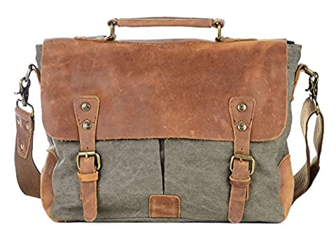 Gootium Vintage Canvas Leather Messenger/Laptop Shoulder Bag Men's, 14 Inches, Army Green