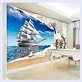 BHXINGMU Benutzerdefinierte Wandbild 3D Stereoskopische Dolphin Broken Wall Fernseher Sofa Hintergrund Kunst Wandmalerei Wohnzimmer Bilder Wallpaper Home Decor 220 Cm (H) X 280 Cm (W)