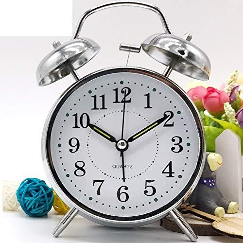 CZDXM Mini Reloj Despertador De Doble Campana Clásico De 4 Pulgadas con Pilas, Reloj Despertador Mecánico...