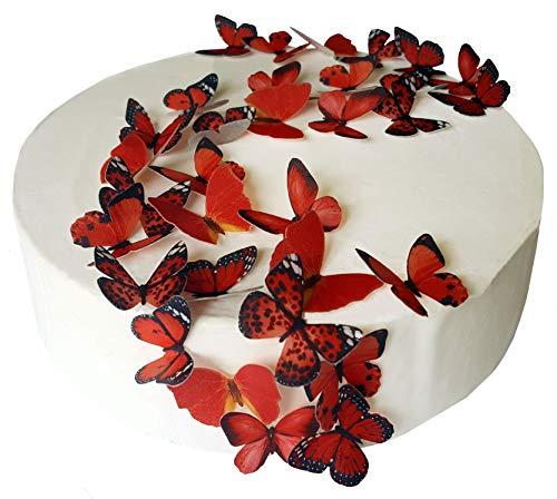 vorgeschnittenen Wunderschöne rot Schmetterlinge essbarem Reispapier/Oblatenpapier Pre Cupcake Kuchen Dessert Topper Geburtstag Party Hochzeit Baby Dusche Dekorationen, Rot, S Hochzeits-kuchen-dessert