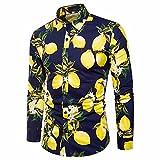 GreatestPAK T-Shirt Herrenhemd Gedruckt Slim Fit Langarm Casual Button Shirts Formale Top Bluse Männer Lemon Muster Langarm-Shirt