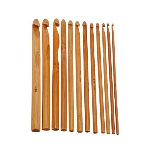 12Pcs 12 Größen Bambus Häkelhaken Stricknadeln Stricken Handwerk Set (Tunesische Häkelnadeln 14)