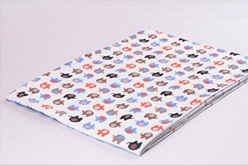 Tejido de jersey estampado por metros |Diseño: Elefantes azul/marrón|100cm x 160cm|92% algodón,...
