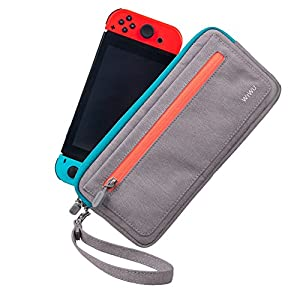 CHIN FAI Slim Carry Hülle für Nintendo Switch, Tragbare wasserdichte Schützende Travel Organizer Case mit Game Card Slots- Grau