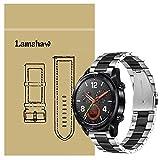 Ceston Metal Acier Classique Bracelet De Remplacement pour Montres Connectées Huawei Watch GT (Noir & Argent)