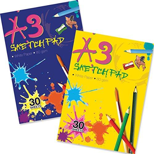 Artbox - Confezione da 30 fogli di carta colorata per sketch, A3, colori assortiti