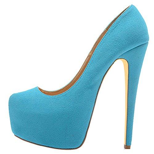 EKS Damen Sexy Stilett Absatz Plattform Pumpen Schuhe Blau-Wildleder