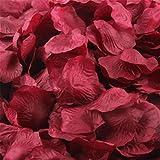 Upxiang 500 Stück Valentinstag Rosenblüten / Romantisch Rosenblüten / Silk Künstliche Rosenblätter / Streudeko für Hochzeit Party Valentinstag Heiratsantrag Streublumen Tischdeko (Weinrot)