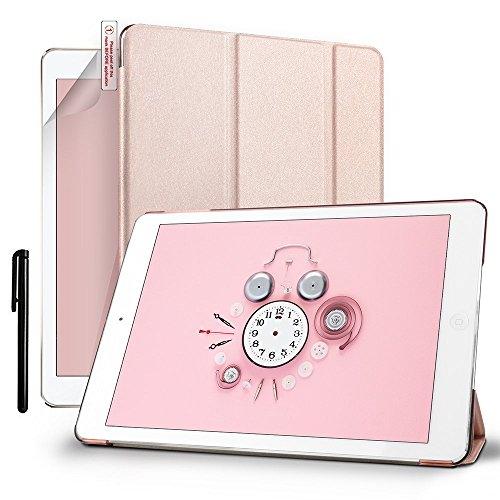 New-iPad-97-Inch-Case-Boriyuan-Ultra-Thin-Folio-Smart-Case-with-Translucent-Frosted-Back-for-Apple-New-iPad-97-Rose-GoldAuto-WakeSleep