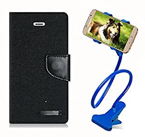 Aart Fancy Wallet Dairy Jeans Flip Case Cover for Nokia620 (Black) + 360 Rotating Bed Moblie Phone Holder Universal Car Holder Stand Lazy Bed Desktop by Aart store.