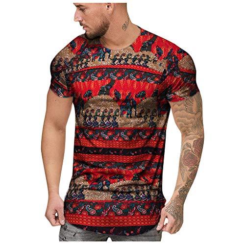 Lazzgirl Art- und Weisemensommer dünner beiläufiger afrikanischer Druck Oansatz passender Kurzarmoberseiten-Bluse(Rot,Medium,Bettwäsche aus Baumwolle)