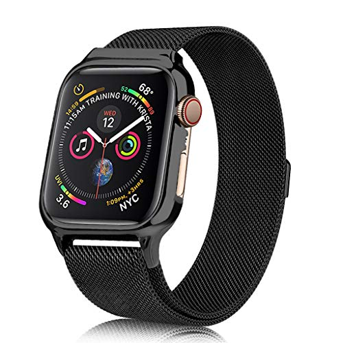3C-LIFE 40mm Stainless Steel Mesh Milan Loop Band with Dial Case for Apple Watch, Electroplated Frame Case Replacement Wrist Band with Protective Bumper Case Compatible with iWatch Series 4(Black) Apple Black Frame