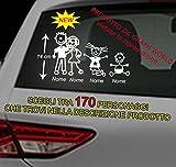 Graph World 4 adesivi stickers adesivi auto famiglia colore a scelta adesivi auto famiglia vetri auto nome bambini per mano