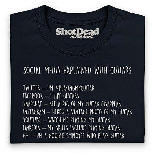 Social Media Explained With Guitars T-Shirt, Damen Schwarz