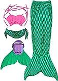 Coda Sirena Bambina per Nuotare Ragazze Cosplay Costumi da bagno Mermaid Tail con Monopinna,regalo di Natale